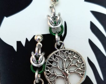 Silver Half Byzantine Chainmaille with Tree of Life Charms - Choice of Blue or Green