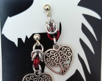 Silver Half Byzantine Chainmaille with Heart Tree of Life Charms