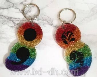 Rainbow Semicolon Keychain