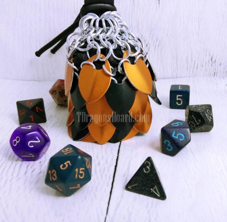 MADE TO ORDER  Small Scalemaille Dice Bag image 0