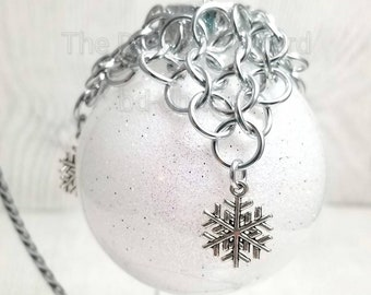 chainmaille ornament net, chainmaille snowflake, chainmaille chainmail ornament, holiday gift, gift for holiday, tree decoration