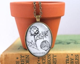 dictionary necklace - book page jewelry -  cooking club gift idea - gardener necklace - literary holiday gift - farmer gift - artichoke