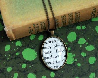 secret garden necklace - book page jewelry -  teacher pendant - fairy garden gift necklace - book club gift idea - literary Christmas gift