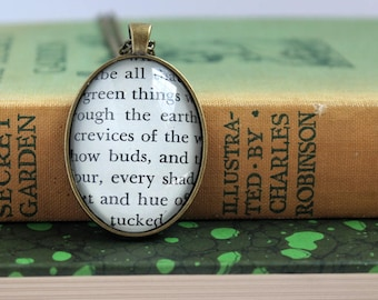 secret garden necklace - book page jewelry -  teacher pendant - gardener gift necklace - book club gift idea - literary Christmas gift