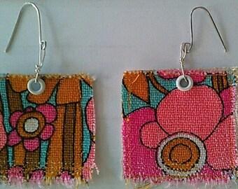 Cloth earrings Vintage Flower Vintage