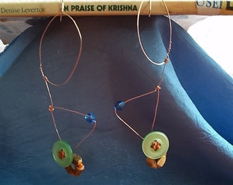 Button- wire -crystal Earrings to better chant with!