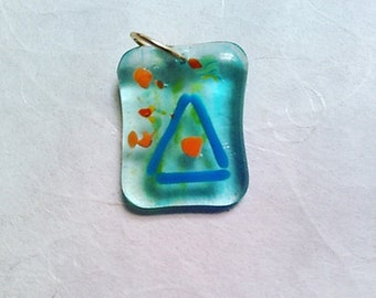Fused glass bead on brass Jump ring