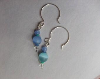 One world~ blue/green mix match earrings