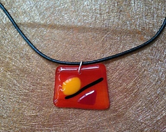 California Sunshine abstract Fused Glass necklace on leather cord