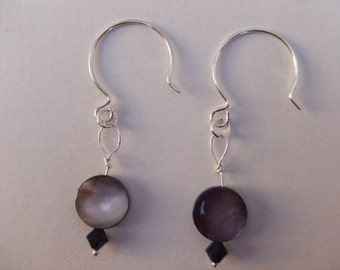Shell earrings with black Crystals~ you won't fade to black with these earrings!