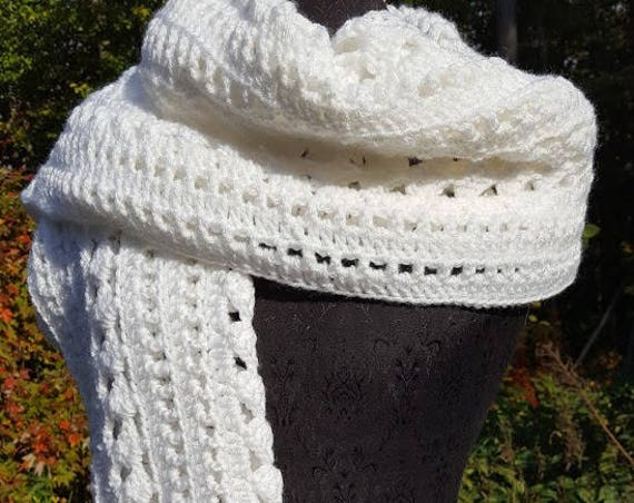 Winter white big scarf, crocheted shawl wrap, fall fashion scarf, white blanket scarf, neck warmer, stadium scarf