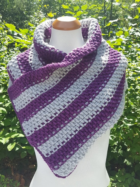 sassy cowl wrap, purple gray scarf wrap, crochet neckwarmer, chunky scarf, winter warm accessory