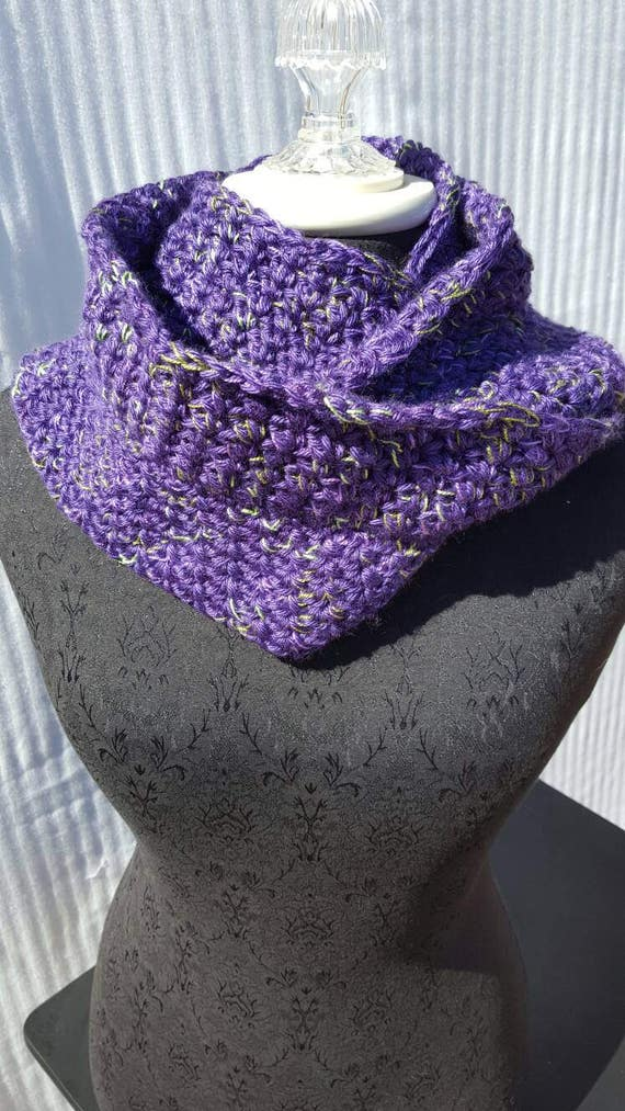 Purple people eater hand crocheted infinity scarf wrap