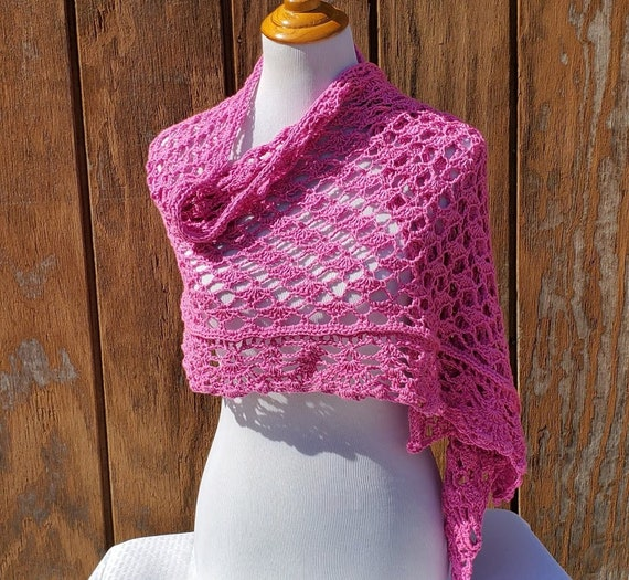 Pink passion wedding shawl, crochet shawl, openwork lace shawl, Victorian lace shawl, bridesmaids wrap, beach summer wedding accessory