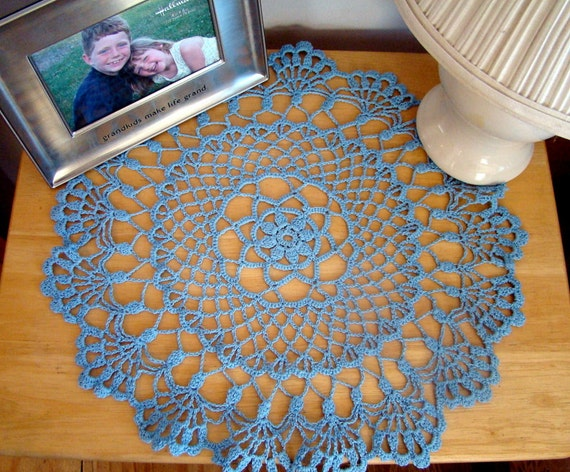 Robin's egg blue crocheted doily