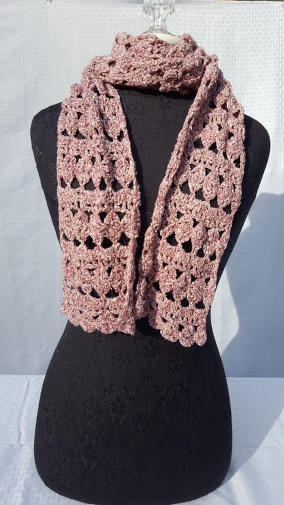 Fan designed scarf in brown tweed