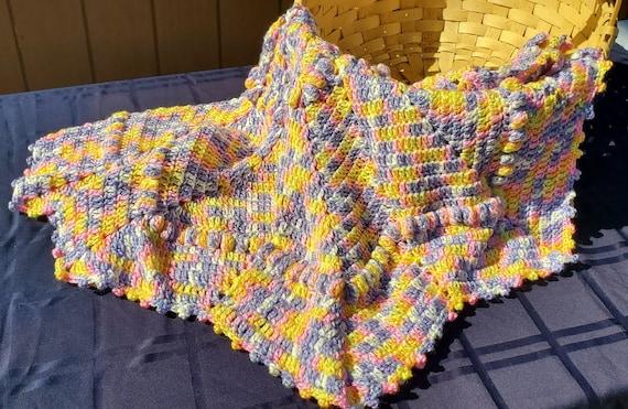 Crochet baby blanket, baby afghan, newborn baby shower gift, baby girl blanket, receiving blanket, stroller blanket, Angel wings afghan, RTS