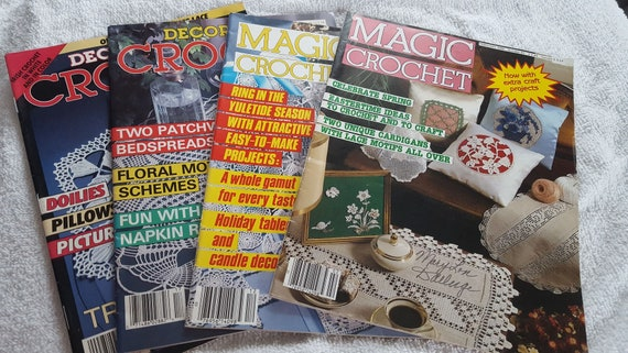 Magic Crochet magazines, Decorative Crochet magazine, Vintage, Thread Crochet Patterns, Doilies, Tablecloths, Bedspreads, Highly Collectible