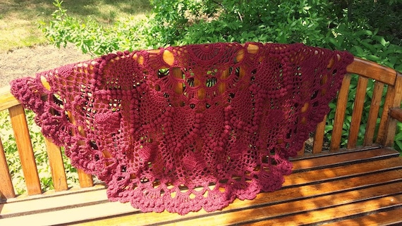 Hand crochet round afghan with hearts and pineapple popcorn stitching in burgundy