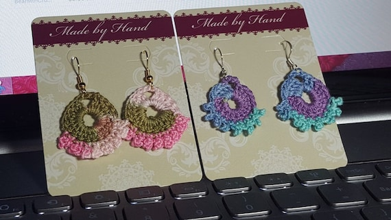 Dainty crocheted fan earrings with picot trim