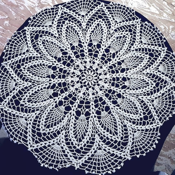 Pineapple surprise white crochet doily with delicate picot edging