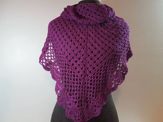 Plum purple lace shawl, lightweight openwork lace shawl, crocheted prom caplet, Mothers Day shawlette, Victorian lace shawl, bridal fashion