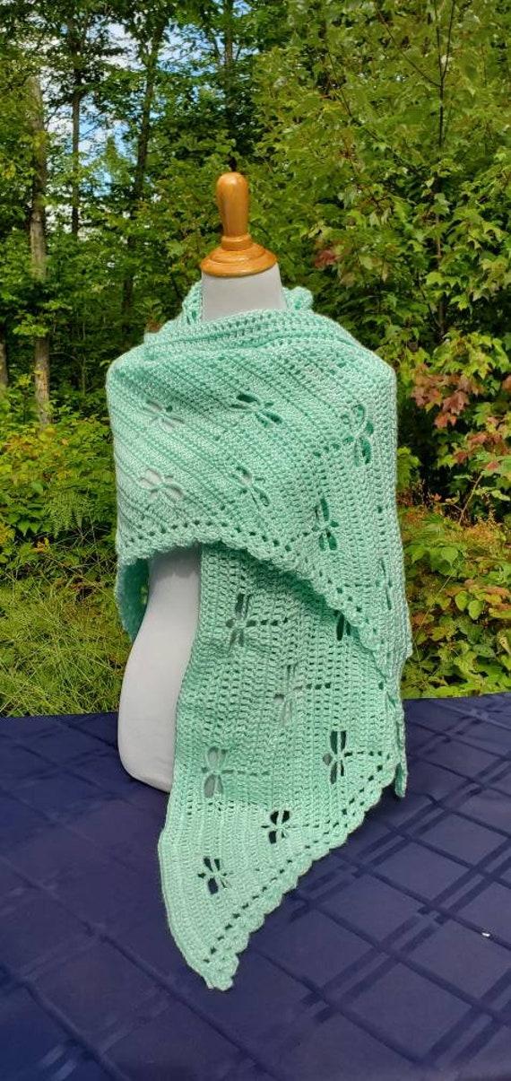 Dragonfly crochet shawl, Mothersday shawl, bridal party accessory, Outlander inspired shawl, wedding attire, bridesmaids wrap, Ready to Ship