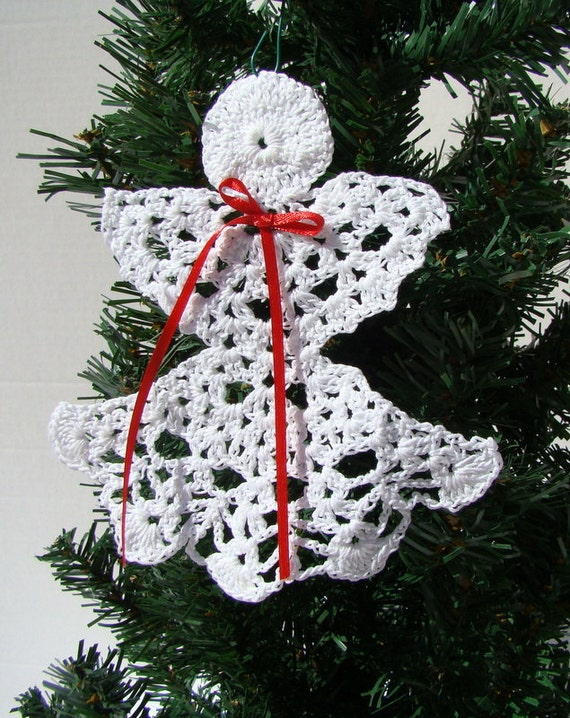 Christmas Angel thread crochet ornament, prayer angel, bible bookmark, greeting card insert