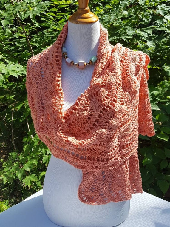 Wedding shawl, prom dress shawl wrap, peach scarf, fall fashion shawl, bridal shawl, rectangular shawl, crochet wrap stole, mothers day wrap