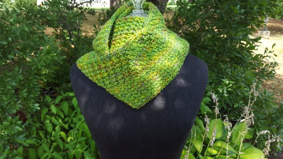 Olympic inspired guacamole green hand crocheted infinity scarf