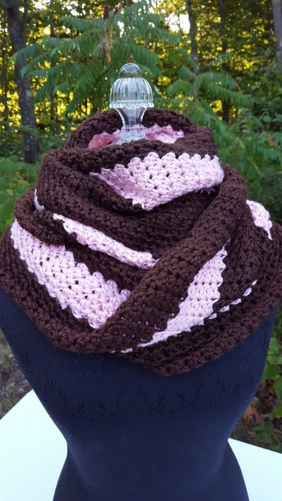Pink and brown mobius infinity shawl wrap