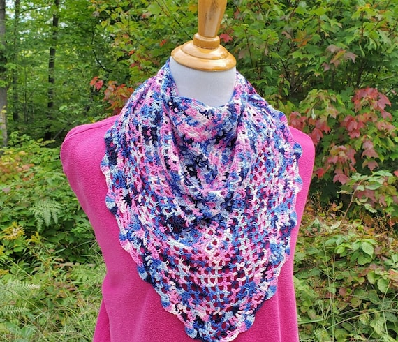 Pink and blue lace shawlette, lightweight openwork lace shawl, crochet lace shawl, bridal fashion, bridal fashion, bridesmaids wrap