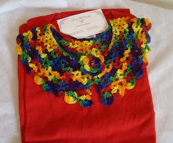 White and red varigated cotton crocheted collar and Tshirt set