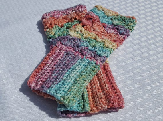 Rainbow fingerless gloves,  texting gloves, wrist warmers, OOAK gloves, crochet accessories, unicorn gloves, fall fashion gloves