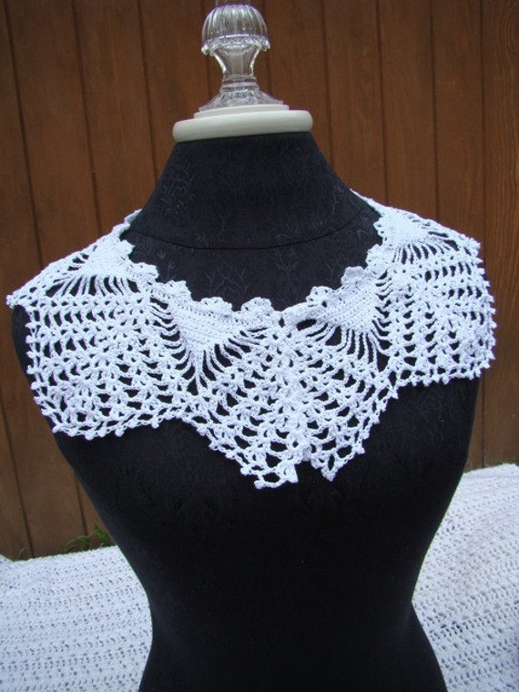 Victorian lace collar, crochet collar, crochet necklace, cotton crochet collar, white cotton collar, dress accessory, lace neckpiece