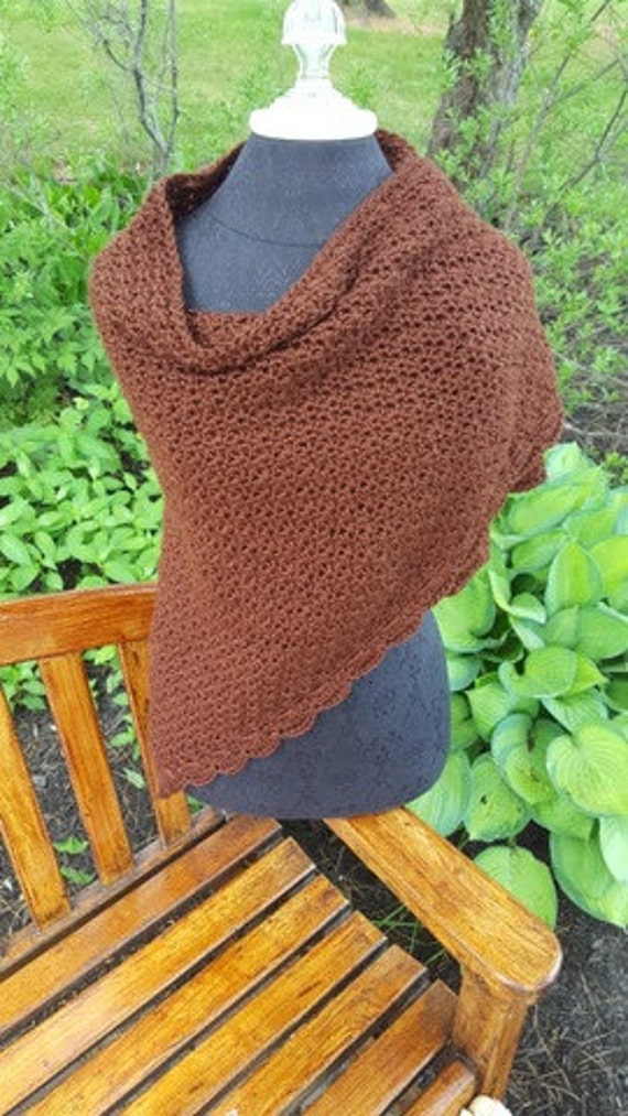 Crochet shawl, chocolate brown wedding shawl, women's shawl, anniversery gift for her, bridesmaids gift