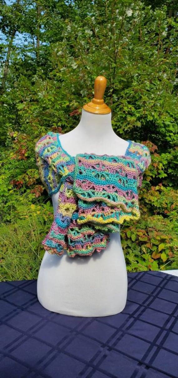 Easter shawl, crochet lace shawlette, rainbow shawl, Mothers Day caplet, bridesmaids shawl, country wedding shawl, oversize scarf,