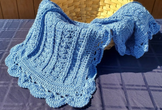 Blue afghan trellis stitching, baby blanket, baby afghan, newborn baby shower gift, stroller blanket, wheelchair throw, lapghan, RTS