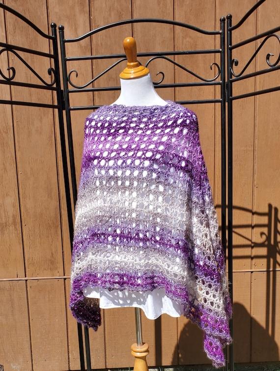 Purple rain poncho, beach coverup, summer bridesmaid poncho, country wedding accessories, fall fashion, Boho chic 70's poncho, READY TO SHIP