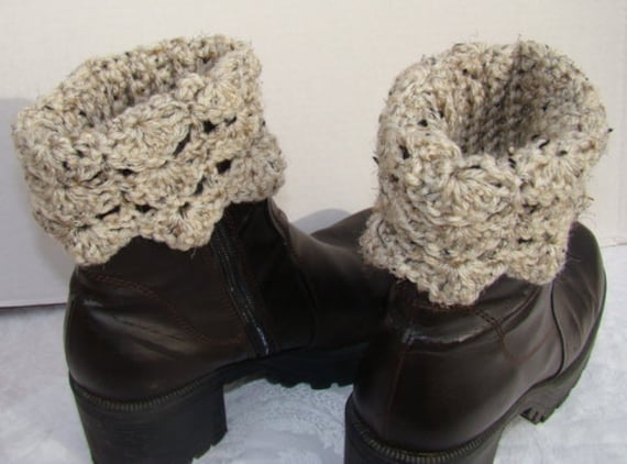 Oatmeal beige hand crocheted winter warm boot cuffs with scallop edging