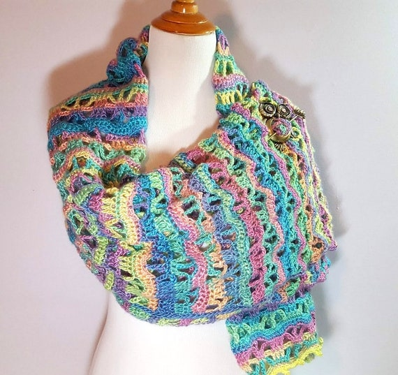 Easter shawl, crochet lace shawlette, rainbow shawl, Mothers Day caplet, bridesmaids shawl, country wedding shawl, oversize scarf,