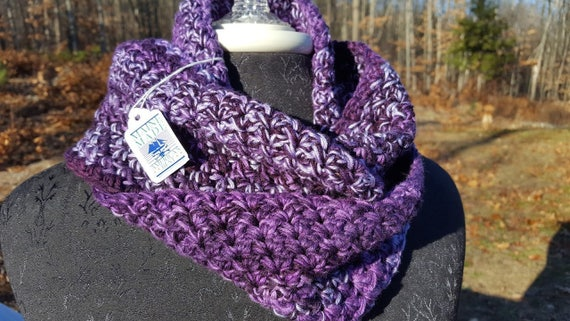 Purple haze hand crocheted infinity scarf