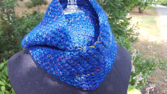 Olympic inspired brilliant blue hand crocheted infinity scarf