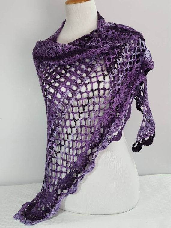 Purple shawl, wedding shawl, bridesmaids wrap, prom dress shawl. openwork lace shawl, Victorian wedding wrap, beach summer wedding