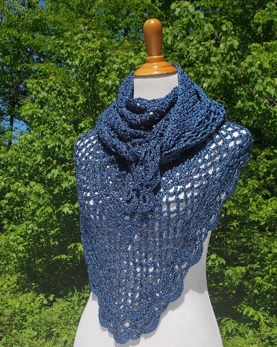 Shimmering blue wrap, crochet shawl, openwork lace shawl, Victorian lace shawl, bridesmaids wrap, summer wedding wrap, metallic blue shawl