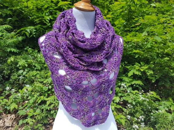 Purple lace shawl, lightweight openwork lace shawl, crochet lace shawl, bridal fashion, OOAK fashion, bridal fashion, bridesmaids wrap