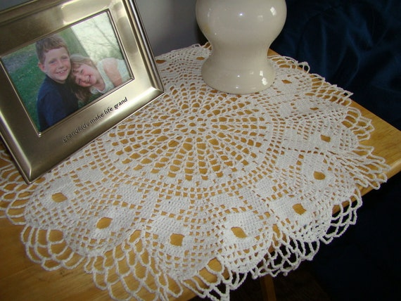 Guestroom decor, nightstand doily, winter white doily, table decor, handmade doily, white table topper, boudoir decor, thread art