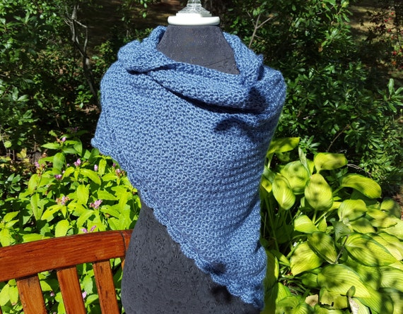 Country blue crochet shawl, mothers day gift, womens accessories, warm winter wrap, fall shawl wrap, prayer shawl, handmade crochet shawl