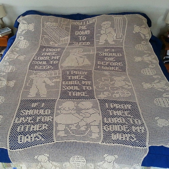Crochet king size bedspread; children's bedroom decor, heirloom bedspread,  teddy bear bedspread,