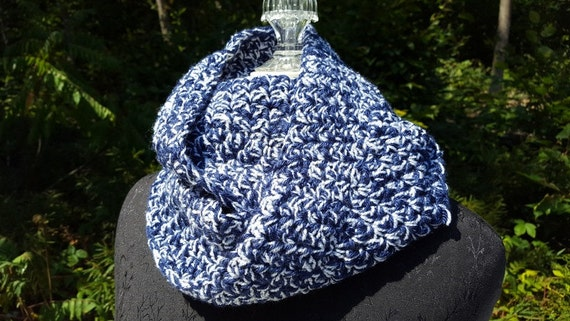 Sapphire blue sparkle hand crocheted infinity scarf wrap